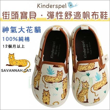 +蟲寶寶+韓國【Kinderspel】街頭寶貝-正韓彈性舒適帆布鞋 (神氣大花貓)《現+預》