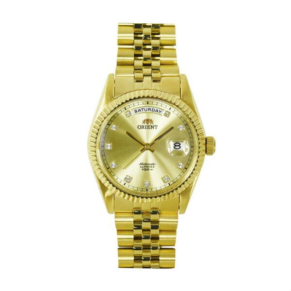 ORIENT東方錶WILDCALENDAR系列(SEV0J001G)蠔式型機械錶鋼帶款金色36.5mm