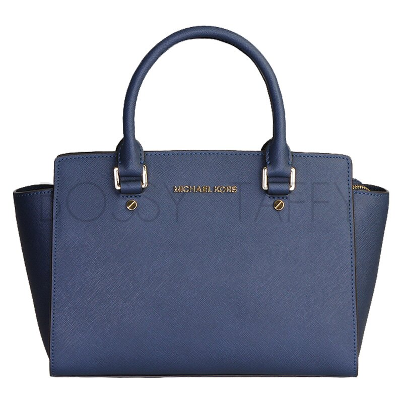 MICHAEL KORS 30S3GLMS2L 海軍藍皮革中號手提斜背梯型托特包 Selma Saffiano Leather Medium Satchel navy