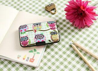*GouQu* 韓國風可愛撞色卡通 貓頭鷹風琴卡包 銀行卡套 零錢包