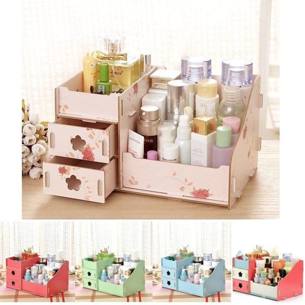 韓版DIY多功能木製收納盒 化妝品收納 辦公室桌面收納 雜物收納(大)【RS564】