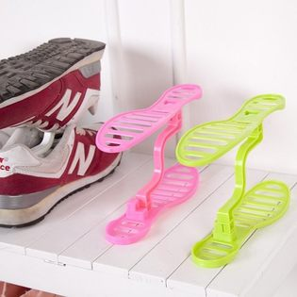Life365:迷你雙層收納鞋架整理鞋架日式鞋櫃收納架鞋架雙層鞋撐鞋收納【RS404】