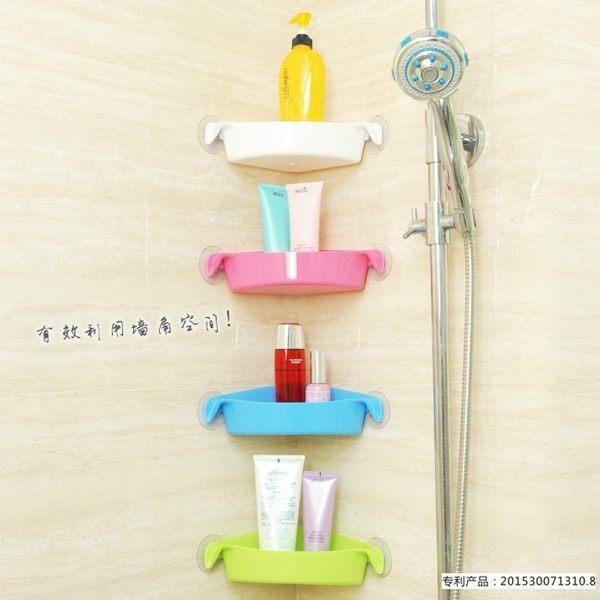 三角置物架牆角 轉角 置物籃 吸盤 浴室收納 廁所壁掛 吸盤式收納盒 盥洗包 收納箱【RS378】