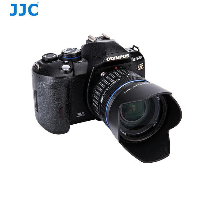 我愛買#JJC奧林巴斯副廠Olympus遮光罩LH-61C遮光罩(具消光紋啞紋,副廠遮光罩相容Olympus原廠遮光罩LH61C遮光罩)適M.ZUIKO DIGITAL 14-42mm f3.5-5...