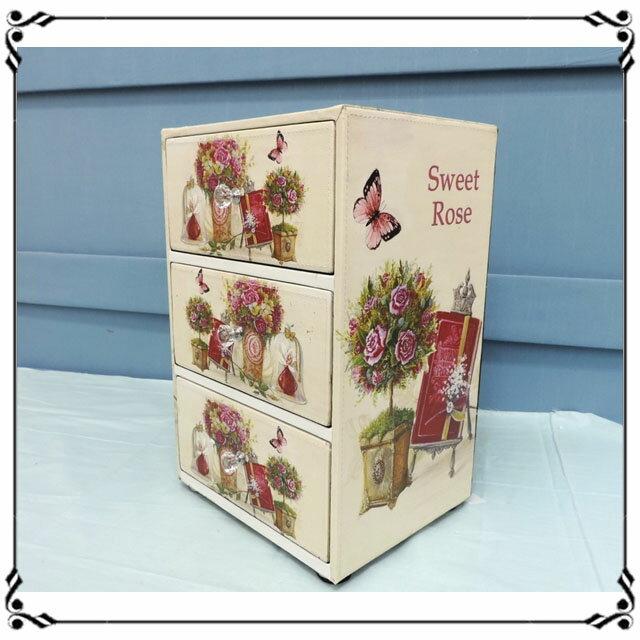 木製小斗櫃小3抽《LN3》鄉村風 花朵蝴蝶三抽櫃 小型3抽櫃 皮革收納櫃 兒童玩具櫃 辦公室◤彩虹森林◥