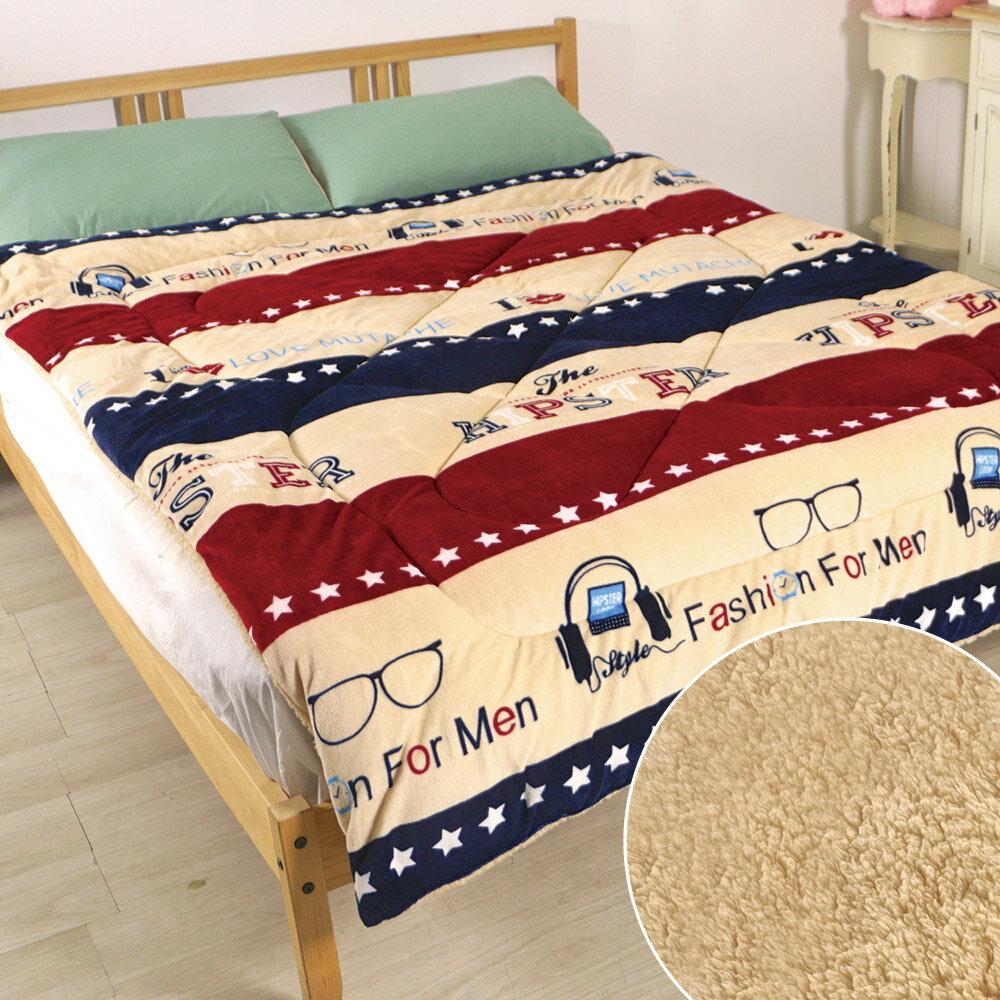 床之戀 複合式法蘭絨+羊羔絨超舒柔保暖厚被毯-慵懶聽音樂(MG0156)