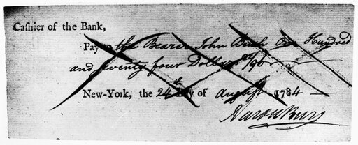 Aaron Burr (1756-1836) Namerican Political Leader Check Of The Bank Of New York Signed By Aaron Burr 24 August 1784 Stretched Canvas - (18 x 24)