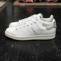 adidas STAN SMITH 白色 全白 灰色 白灰 金字 奶油底 薄鞋舌 皮革 荔枝皮 復古 S75075