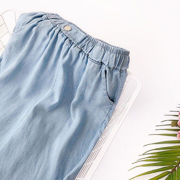 七分褲 素色 寬管褲 垂墜感 薄款 鈕扣 裝飾 鬆緊腰 七分褲【HA821】 BOBI  05 / 30 7