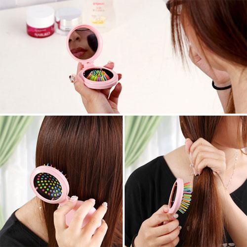 【J17112002】迷你彩虹鏡子氣囊梳 創意彩虹梳 折疊氣墊髮梳 便攜按摩梳