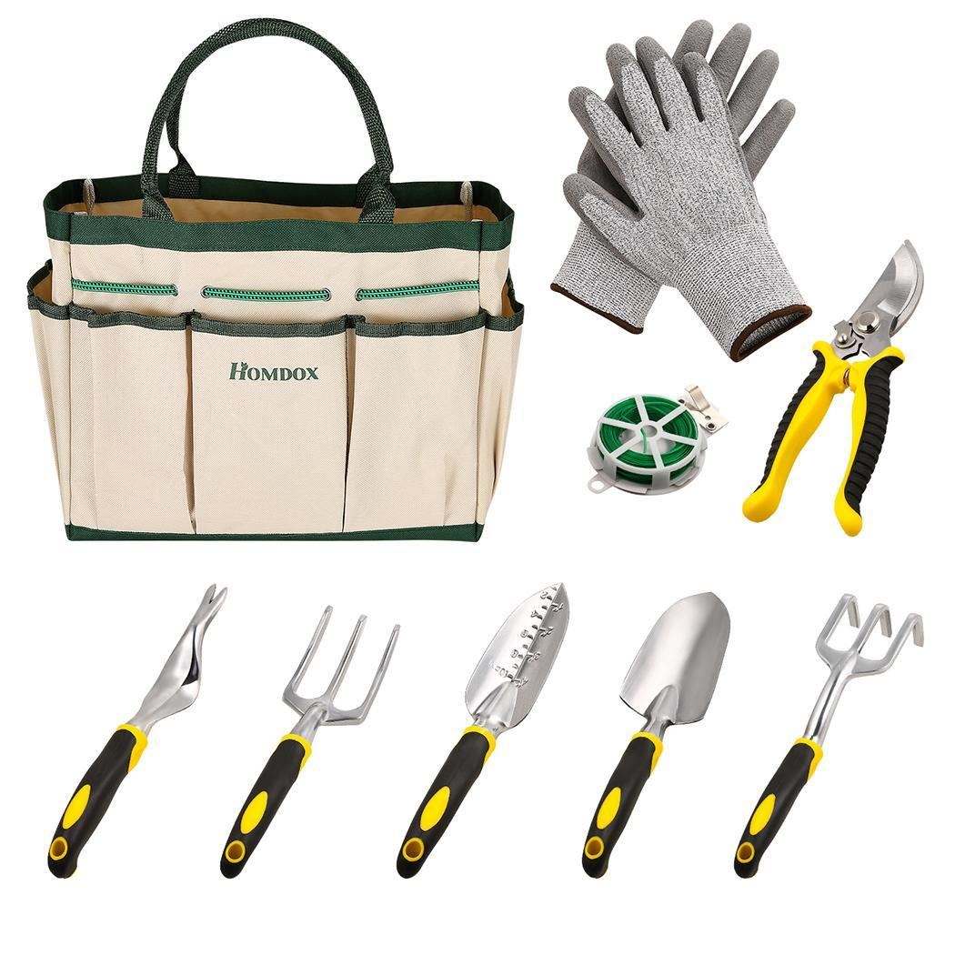 6 Heavy Cast Aluminum Heads with Garden Tote 9 Pieces Garden Tool Sets and glove 0