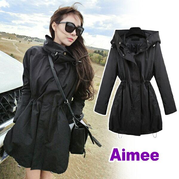 【預購】【Aimee】歐洲連線韓國首爾銷售冠軍大都會地鐵風衣外套夾克大衣羽絨外套《付連帽子高領》‧正韓防風保暖大尺碼輕便防潑水