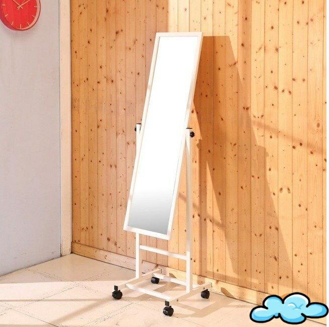 鐵製白烤漆附輪立鏡 全身鏡 穿衣鏡 玄關鏡 化妝鏡 立鏡【馥葉-百】型號MR094WH