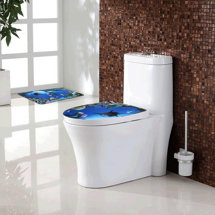 3Pcs/Set Bathroom Non-Slip Blue Shark Pedestal Rug Lid Toilet Cover Bath Mat 0