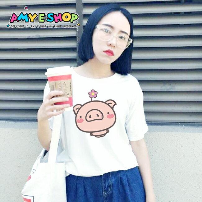 T恤 情侶裝 客製化 MIT台灣製純棉短T 班服◆快速出貨◆獨家配對情侶裝.小花豬【Y0076-2】可單買.艾咪E舖