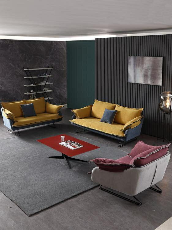沙髮 北歐布藝沙髮組合可拆洗現代小戶型客廳傢俱三人位創意極簡沙髮 家