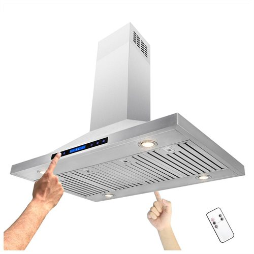 "42"" Stainless Steel Island Mount Range Hood Touch Screen Display Light Lamp Baffle Filter 1"