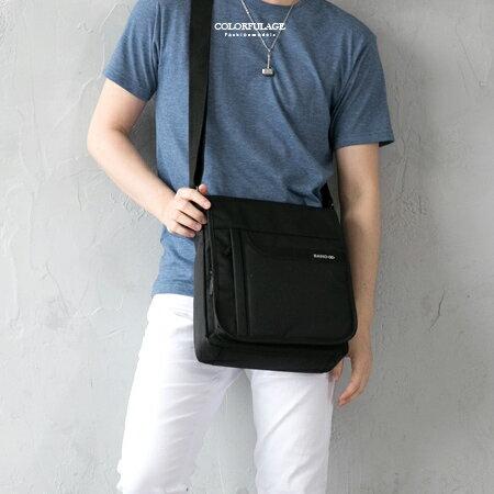 MIT大款側背包 掀蓋式肩背包 防水尼龍布 硬挺 柒彩年代~NZ493~