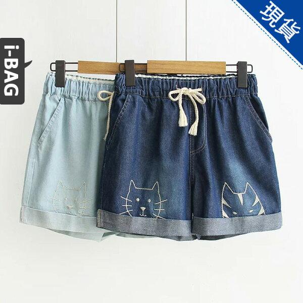 B.A.G*現+預*【PA1399】卡通貓咪刺繡牛仔短褲(現+預)-2色