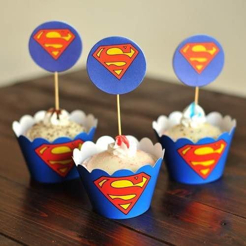 =優生活=烘焙包裝紙杯蛋糕 蛋糕裝飾 插牌圍邊+插牌裝飾 派對用品 兒童生日 彌月蛋糕 收綖蛋糕【超人S】