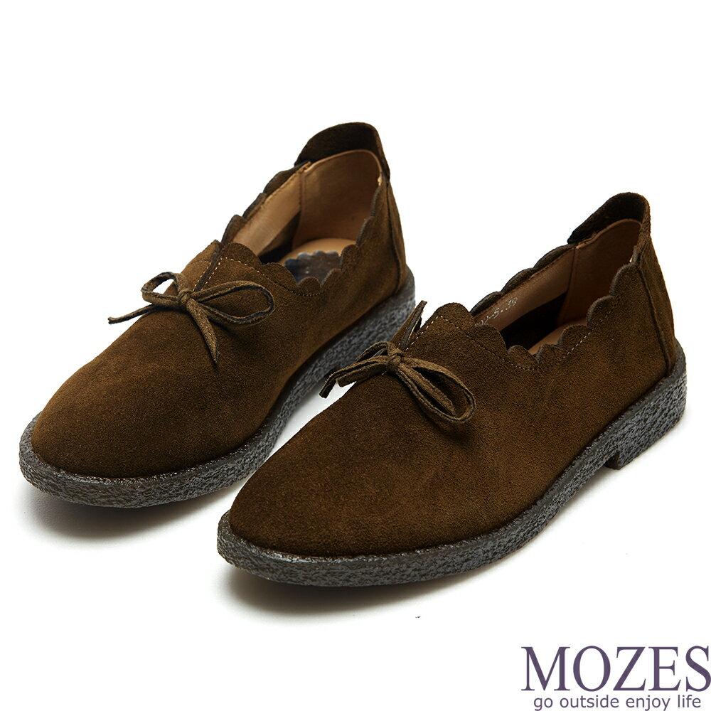 【MOZES】舒適麂皮波浪滾邊蝴蝶結平底鞋(麂皮娃娃鞋)-咖啡