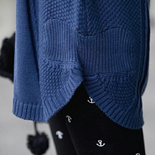 針織長袖下擺弧形立體壓線長版上衣 毛衣【29178】藍色巴黎 - 現貨 + 預購 1