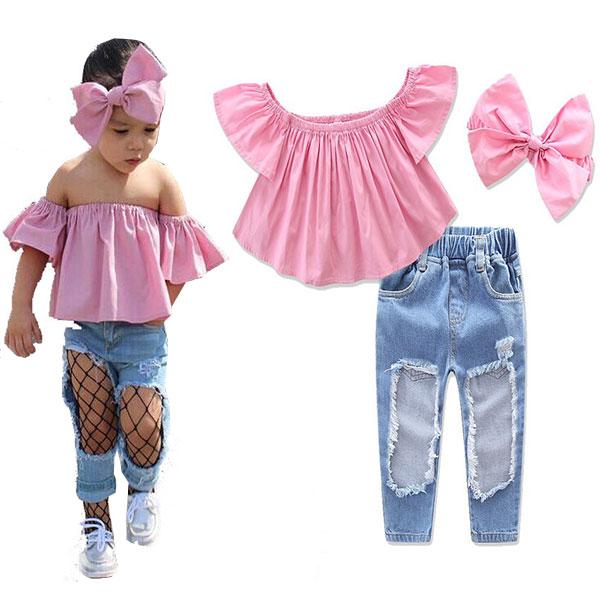 ins 三件組 套裝 粉紅 一字領 分開袖 上衣 破洞 刷破 刷鬚 牛仔褲 髮帶 蝴蝶結 歐美 小童 中童 ANNA S.
