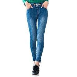 鉛筆褲--個性仿舊刷白鬆緊帶皮革綁繩M字刺繡口袋顯瘦牛仔長褲(藍M-3L)-C112眼圈熊中大尺碼