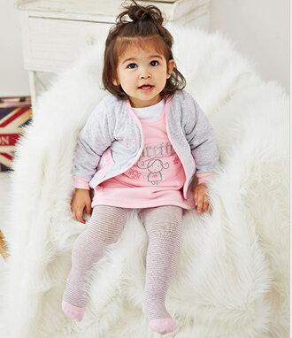 ☆Babybol☆粉色系織針保暖套裝 外套 背心裙 上衣 褲襪 四件組套裝【24127】