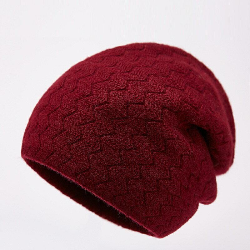 毛帽羊毛針織帽-純色毛線波浪紋防寒男帽子5色73wj22【獨家進口】【米蘭精品】 1