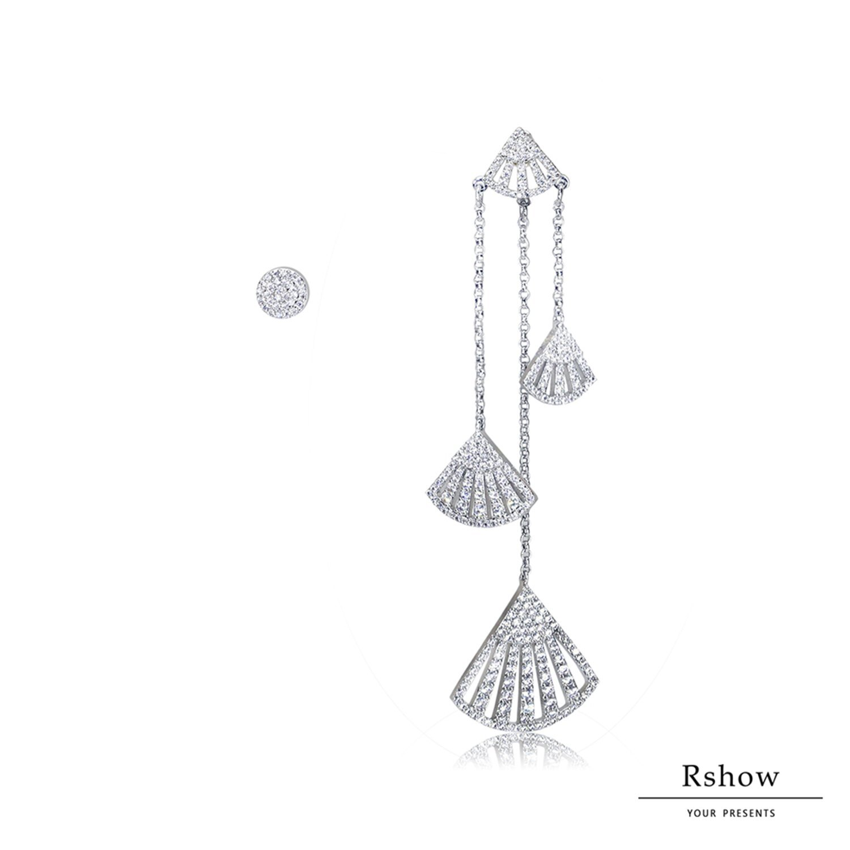 【Rshow】希臘河畔 銀色人魚水鑽扇形 不對稱垂墜 可拆卸耳環組 1