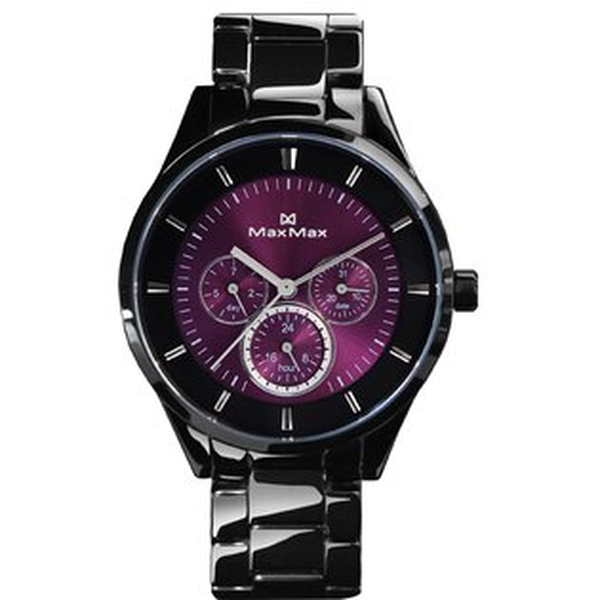 MaxMaxMAS70063J-1時尚陶瓷腕表-黑紫40mm