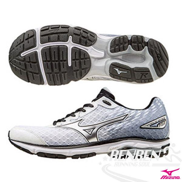 MIZUNO 美津濃 WAVE RIDER 19(W) 女慢跑鞋 路跑 (白*銀) 2016年下半年款