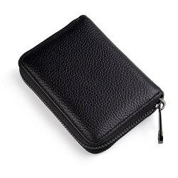 頭層牛皮男士卡包 信用卡套拉鍊卡夾女多卡位小卡片包證件卡包 【korea時尚記】