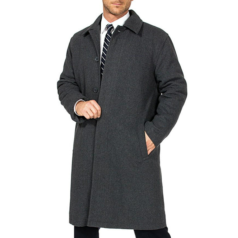 Alpine Swiss Men's Zach Knee Length Jacket Top Coat Trench Wool Blend Overcoat 6