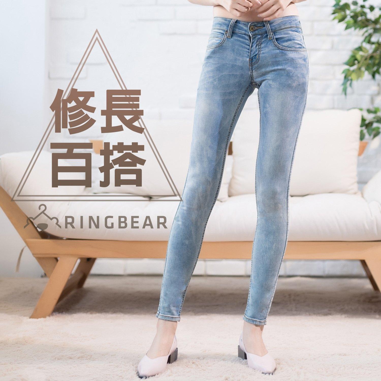 牛仔褲--優雅百搭銅釦刷色針織內裡修長顯瘦窄管丹寧褲(藍XL-7L)-N96眼圈熊中大尺碼 0