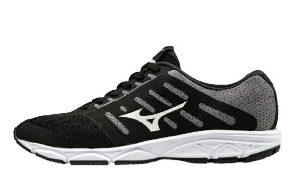 運動世界:MIZUNOEZRUN女鞋慢跑休閒避震透氣網布黑白【運動世界】J1GF183801