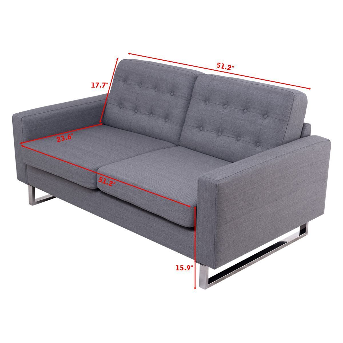 Costway: Costway 2 Seat Sofa Couch Loveseat Fabric Upholstered ...