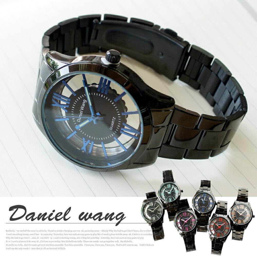 Daniel Wang 2202-IP 激似CK風格炫彩鏤空羅馬數字鐵帶錶 0