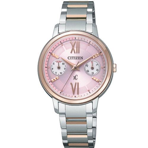 CITIZEN星辰FD1014-52X玫瑰金框動人亮麗光動能女錶/粉紅面30mm