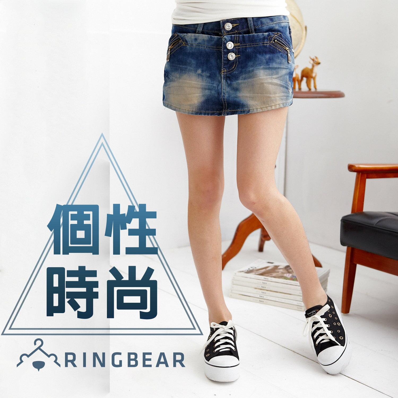 褲裙--時尚層次感鑽釦斜拉鍊裝飾設計氣質纖細顯瘦牛仔褲裙(S-7L)-R107眼圈熊中大尺碼 0