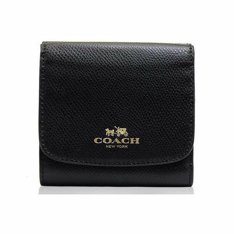 【6/30前滿2000輸入2K22025-3折220】COACH F53768 女款黑色皮質短款錢包錢夾