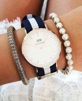 瑞典正品代購 Daniel Wellington 0602DW 銀  尼龍 帆布錶帶 女錶手錶腕錶 36MM 4