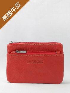泰樂福購物網:雙層拉鍊真皮零錢包(橘色)→現貨