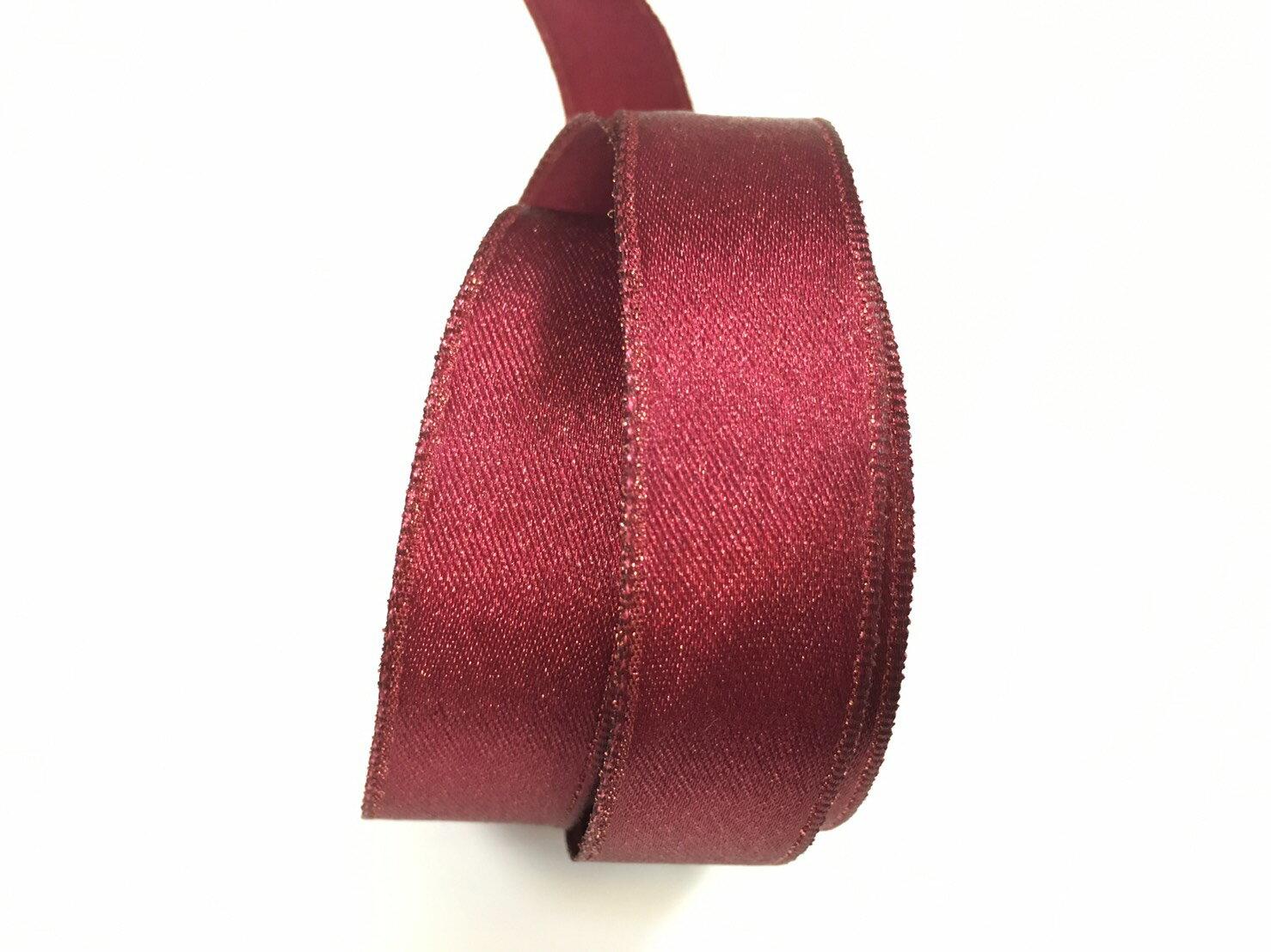 【Crystal Rose緞帶專賣店】金粉緞面鐵絲帶  3碼 (10色) 8
