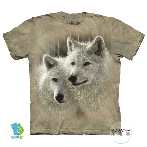 【摩達客】(預購)美國進口TheMountain白狼知音純棉環保藝術中性短袖T恤