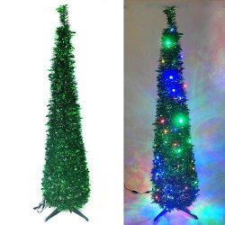 『心可樂活』6尺/6呎(180cm) 彈簧摺疊綠色哈利葉瘦型鉛筆樹聖誕樹 (+LED100燈四彩光一串)(本島免運費)