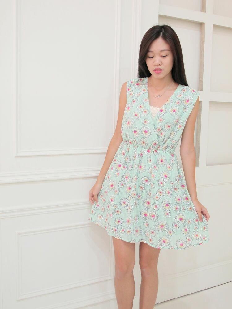 氣質菊花雪紡洋裝