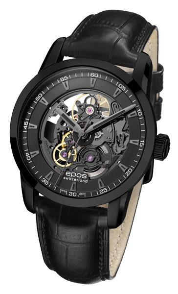 epos 愛寶時 3423.139.25.15.25FB 質感黑透視擺輪機械腕錶 / 黑面40.8mm - 限時優惠好康折扣