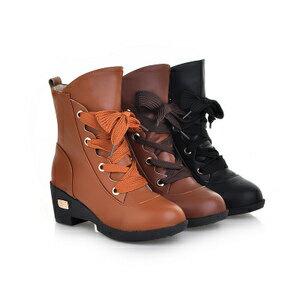 英倫系帶綁帶馬丁靴女單靴短靴女鞋厚底騎士靴馬靴女靴 ~黑 咖 黃34~39~mo~4033